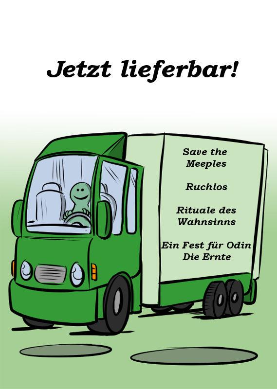 SAVE THE MEEPLES, RUCHLOS, RITUALE DES WAHNSINNS & EIN FEST FÜR ODIN - DIE ERNTE JETZT LIEFERBAR